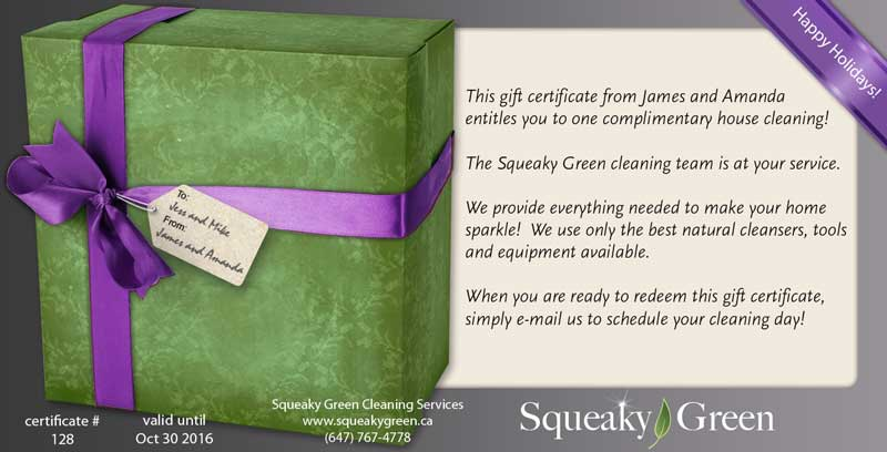 Environmentally Friendly House Cleaning Gift Certificate